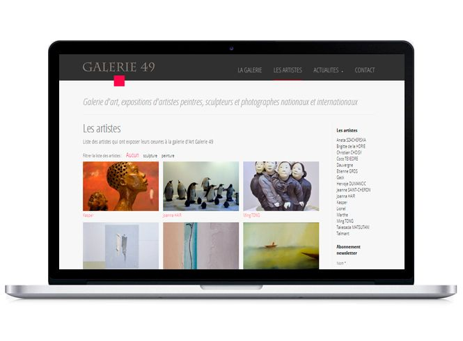 Site web Galerie 49 version portable