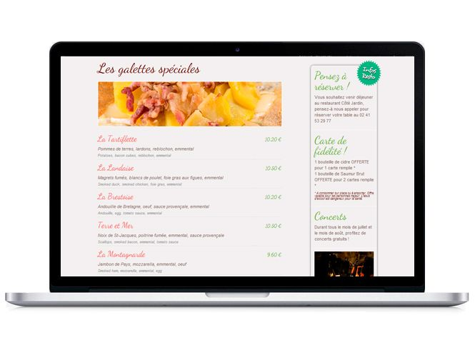 Site web Restaurant Côté jardin version portable