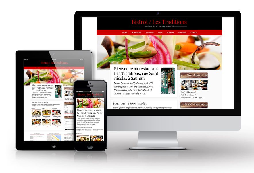 Site web restaurant Les Traditions Responsive Design